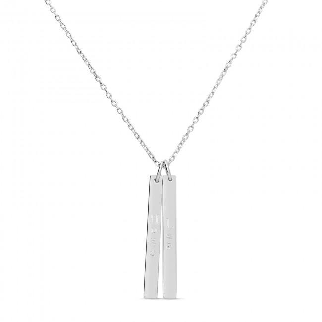 Chaîne médaille gravée et pompon rose