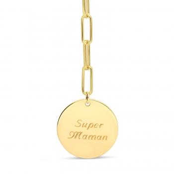 Collier personnalisé médaille et pierre noire