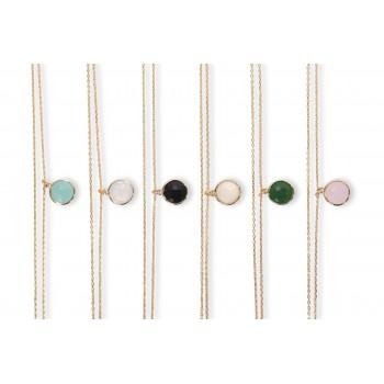 Collier petite médaille et son petit pendentif Lune à strass Plaqué or