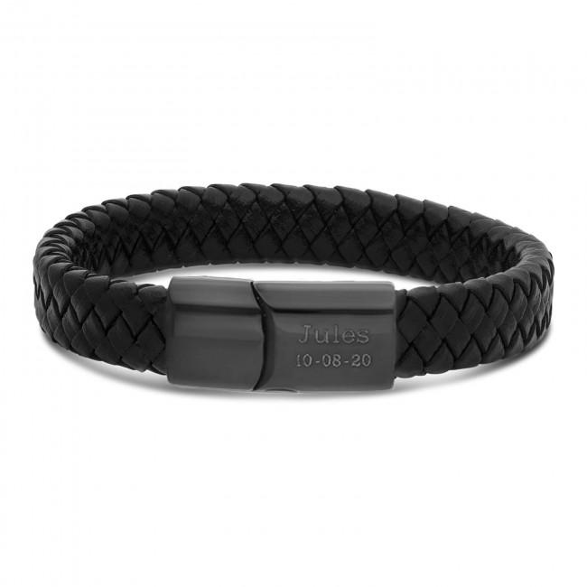 Bracelet homme personnalisé en cuir marron tressé