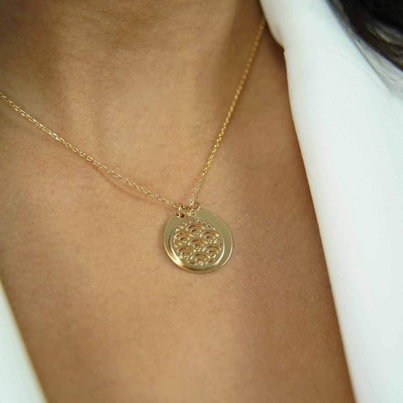 Collier personnalisé médaille et pierre vert pâle